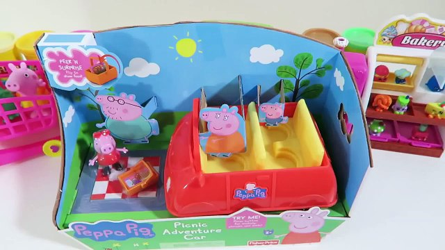 Peppa Pig Picnic Adventure Car Playset & Shopkins Toys Desserts Grocery Shopping!
