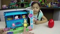 NEW PEPPA PIG SCHOOL BUS PLAYSET SURPRISE EGG Peppa Pigs School Kids Toys Unboxing Toy Opening Fun