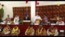 Wallis-et-Futuna : un accueil fleuri et guerrier pour François Hollande
