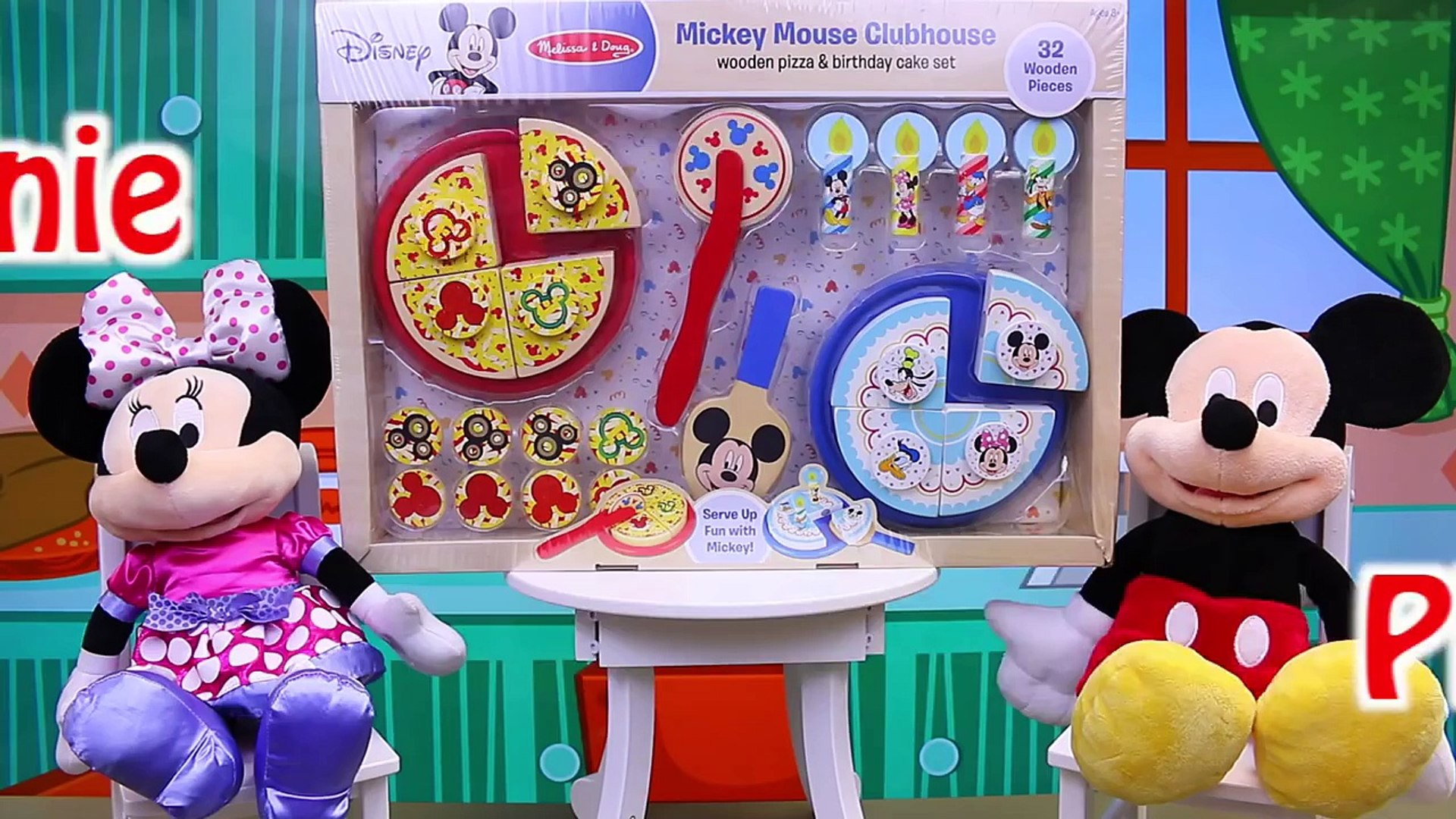 Mickey Mouse Clubhouse Melissa Doug Wooden Pizza Birthday Cake Minnie Mouse Surprise Presents