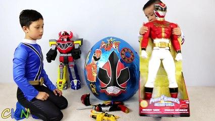 Power Rangers Super Giant Surprise Egg Toys Opening Dino Charger Samurai Megaforce CKN Toys