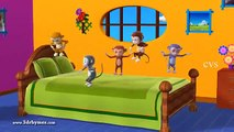 Five Little Monkeys Jumping on the bed 3D Animation English Nursery rhyme for children