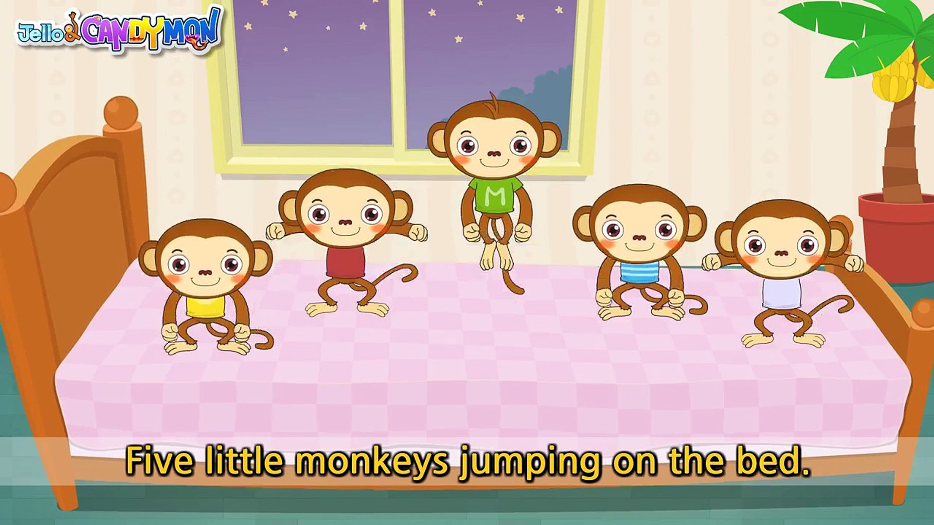 Five Little Monkeys Jumping On The Bed Nursery Popular Rhymes English Song For Kids Music Video Dailymotion