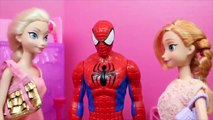 Frozen Dolls Elsa and Anna Shopping with SPIDERMAN!!! Barbie Boutique Clothing S
