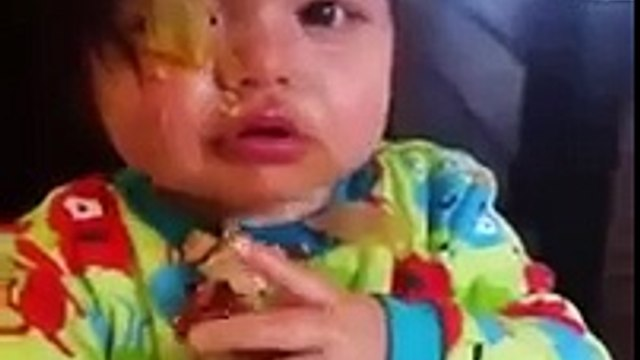 Toddler Gets Messy while Eating Soup