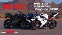 Big Mids Shootout: Ducati 848 EVO vs Suzuki GSX-R750 vs Triumph Daytona 675R