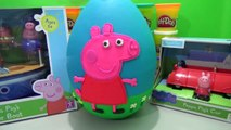 Giant Peppa Pig Play Doh Surprise Egg w/ Grandpa Pigs Bathtime Boat, Peppa Pigs Car & Toys Figures
