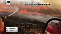 Raw: Grass Fire & High Winds Form Fire Tornado