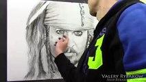 Time lapse portrait Captain Jack Sparrow. How to draw Johnny Depp demo by Valery Rybakow!