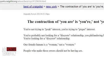 Craigslist Chronicles- The Contraction of 'You Are'