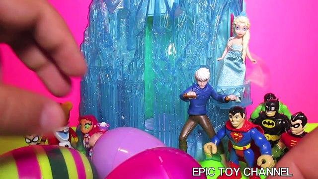 FROZEN Queen Elsa & Jack Frost Surprise Eggs Teen Titans Go! Doc McStuffins Daniel Tiger Batman