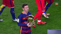 Messi offers the Ballon dOr to the FC Barcelona supporters at Camp Nou