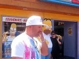 Homer, Marge, and Bart Simpson near the Simpsons Ride
