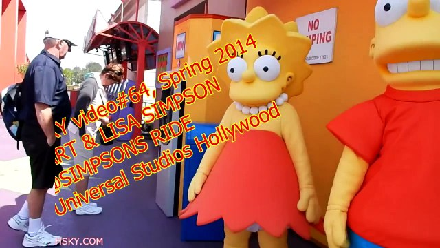 V#64 HSKY Bart & Lisa Simpsons @ The Simpsons Ride Universal Studios Hollywood Spring 2014 HD