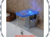 Hiendure® LED RGB Grifo De Cristal Grifos De Cuenca Cromo Cascada Mezclador Del Lavabo Para
