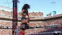 part two-AJ fight segment & cheer-WWE WRESTLEMANIA 31'2015 AJ Brooks as AJ Lee&Paige vs The Bella Twins,spider outfit