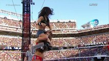 part two-AJ fight segment & cheer-WWE WRESTLEMANIA 312015 AJ Brooks as AJ Lee&Paige vs The Bella Twins,spider outfit