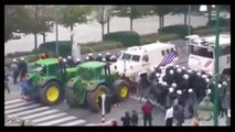 Farmers hit by Russia Sanctions Protest Against EU / Brussels Using Tractors Against Police Cordon