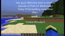 Minecraft: Pixel Art Wednesday!   COOKIE MONSTER  Pixel Art Speed Build
