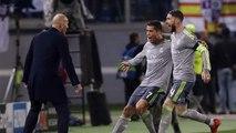 Real Madrid Star Cristiano Ronaldo Celebrates With Zinedine Zidane
