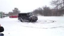 Mercedes G63 AMG SUV drift 2016 in snow 2016