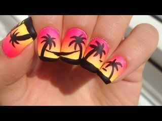 Easy Neon Gradient and Palm Tree Nail Art