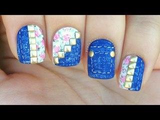 Denim & Floral Nail Art Tutorial