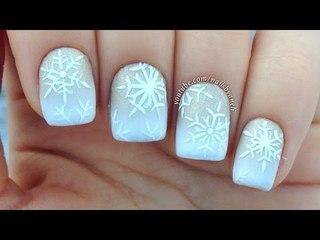 Nail Art Tutorial: White & Gold Gradient + Snowflakes