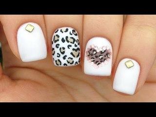 Nail Art Tutorial: Pink Mix & Match / Cutout Heart & Leopard Print