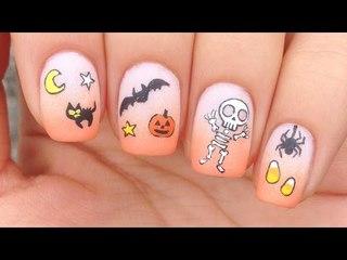 Nail Art Tutorial: Halloween Theme + Cute Skeleton