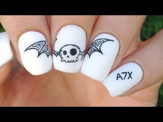 A7X Simplified Deathbat Nail Art
