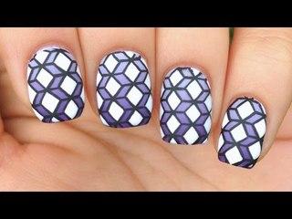 Nail Art Tutorial: Purple Gradient + Geometric 3D Boxes Design