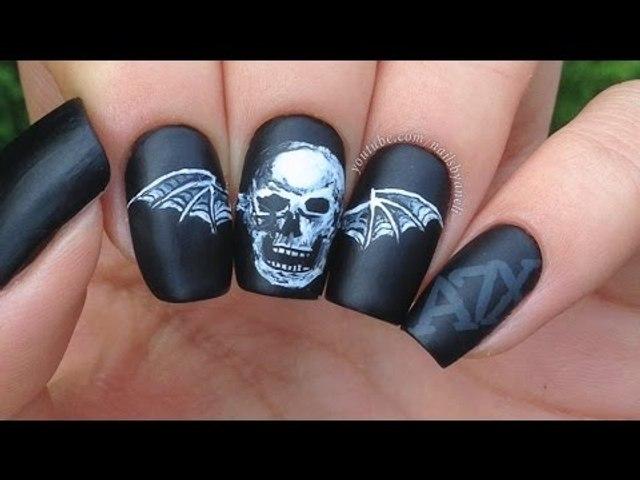 A7X Deathbat Nail Art
