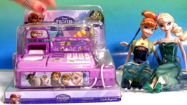 Disney FROZEN CASH REGISTER Anna Elsa Birthday Party Shopping for Shopkins Toys FASHEMS Surprise
