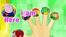 Peppa Pig Super Heros Lollipop 4 Finger Family \ Nursery Rhymes Lyrics
