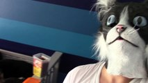 Cat Dad Feeds His Kitties In Cat Mask Fail