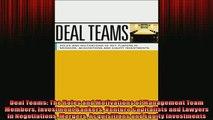 READ book  Deal Teams The Roles and Motivations of Management Team Members Investment Bankers  FREE BOOOK ONLINE