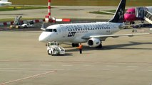 LOT Polish Airlines pushback and departure to Warsaw