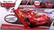 Cars 2 STUNT RACERS Crank Launcher With Red Metallic Lightning McQueen Disney Pixar car-toy review