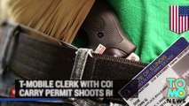 Concealed carry shooting: T-mobile clerk shoots two robbers in Chicago - TomoNews