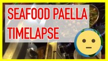 Seafood Paella Recipe Cooking in Pan w/ Saffron Rice + Shrimp + Vegetables - Time Lapse of How to Make Spanish Paella Valenciana with Ingredients