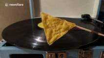 Playing a Vinyl Record Using a Tortilla Chip