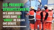 """Le démantèlement d'abris de la """"Jungle"""" de Calais a débuté"""