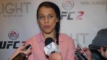 Joanna Jedrzejczyk media scrum at EA UFC 2 launch in Las Vegas