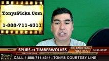 NBA Free Pick Minnesota Timberwolves vs. San Antonio Spurs Prediction Odds Preview 3-8-2016