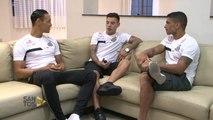 Jogadores do Santos entrevistam Maxi Rolón, novo reforço