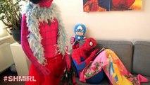 Pink SPIDERGIRL Frozen Elsa & Spiderman - Spidergirl Elsa Kisses Spiderman - Fun In Real Life SHMIR