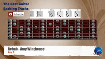 Rehab - Amy Winehouse Guitar Backing Track with scale chart and chords