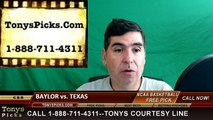 College Basketball Free Pick Texas Longhorns vs. Baylor Bears Prediction Odds Preview 3-10-2016