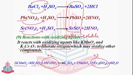 reactions of sulphuric acid with benzene precipitation reactions reaction with oxidizing agents uses of sulphuric acid